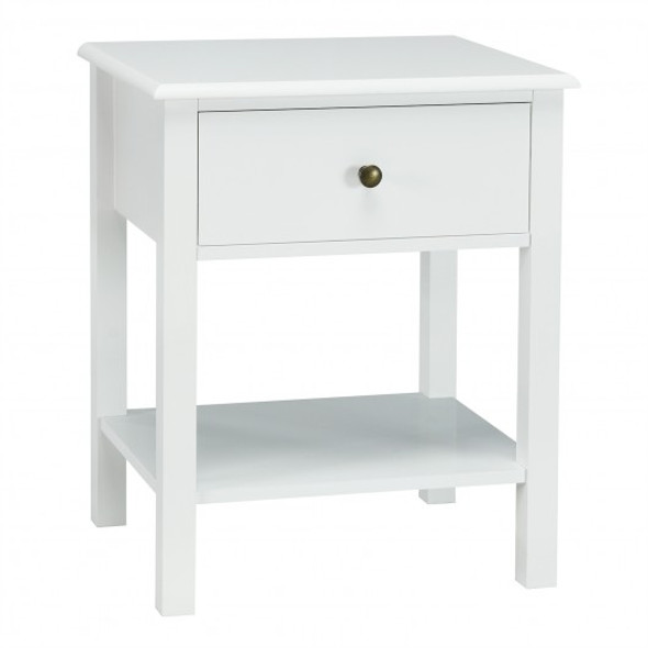 Nightstand End Table with Drawer and Shelf-White