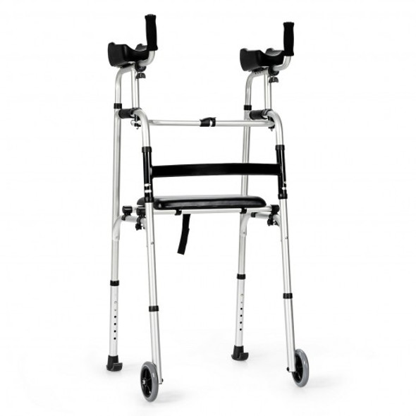 Foldable Aluminum Alloy Frame Wheel Walker With Seat and Armrest Pad