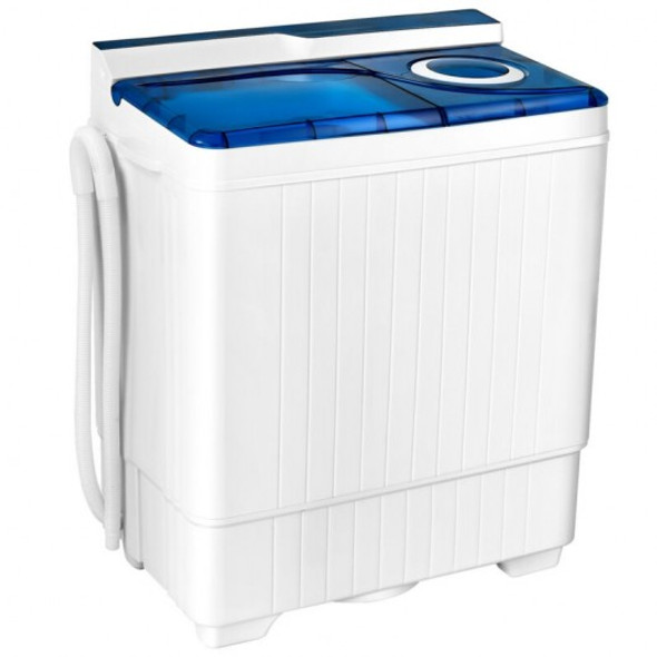 26 Pound Portable Semi-automatic Washing Machine with Built-in Drain Pump-Blue