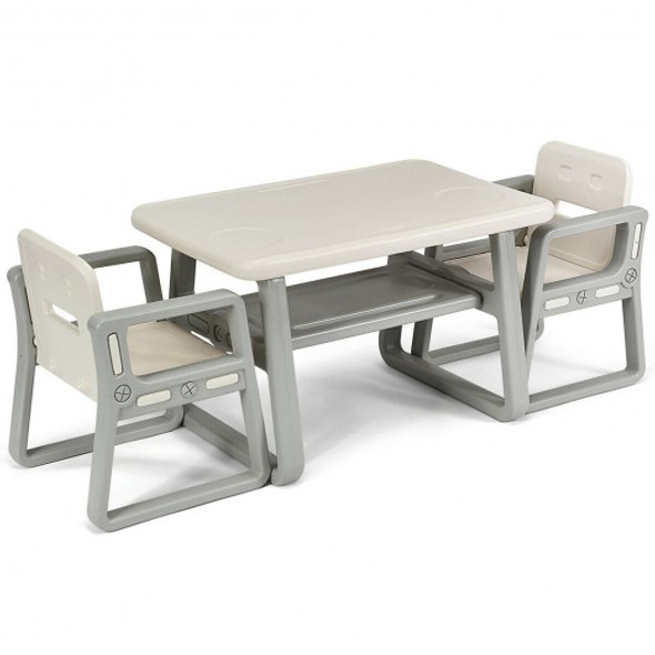 Kids Table and 2 Chairs Set with Storage Shelf-White