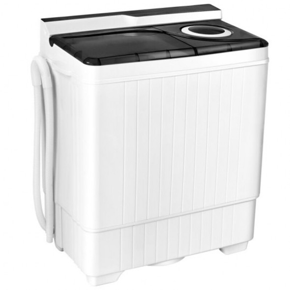 26 Pound Portable Semi-automatic Washing Machine with Built-in Drain Pump-Gray