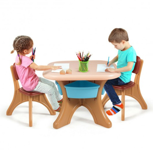 Children Kids Activity Table & Chair Set Play Furniture W/Storage-Coffee