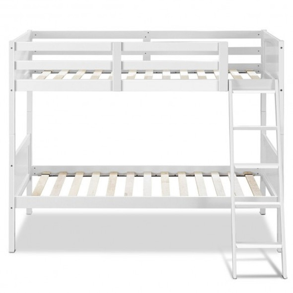 Wooden Bunk Beds Convertable 2 Individual Beds-White
