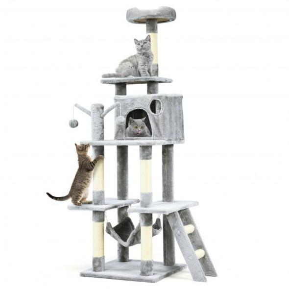 "66"" Cat Tree Condo Kitten Multi-Level Activity Center-Gray"
