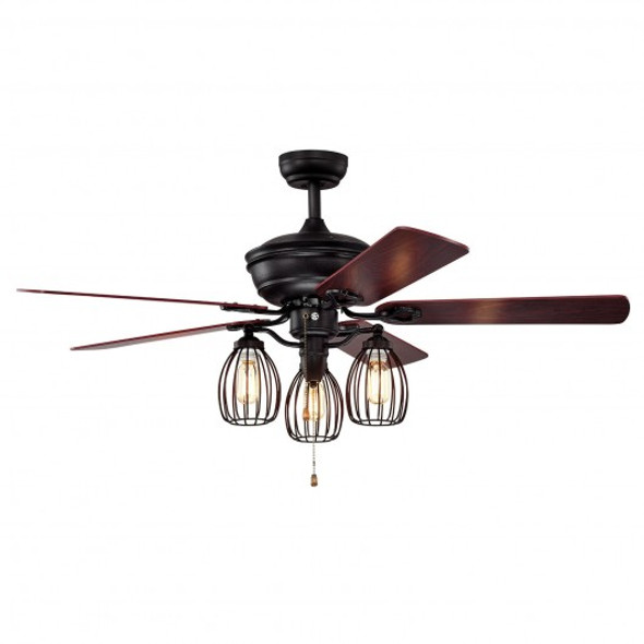 """52"""" Electric Ceiling Fan with 5 Blades and 3 Lights for Living Room and Bedroom"""