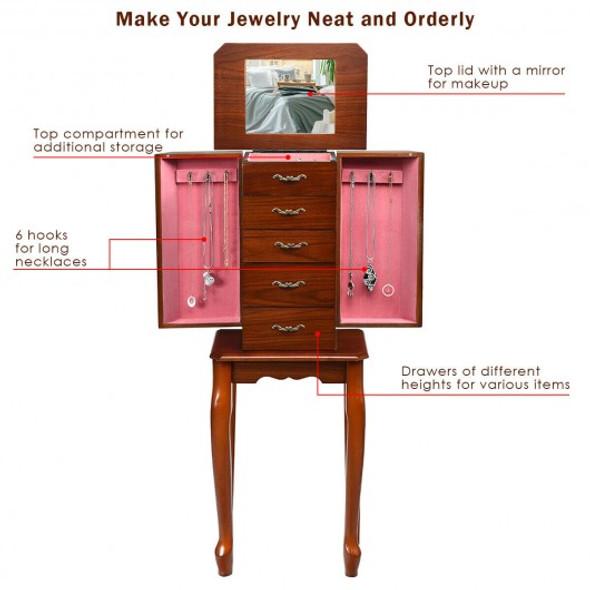 Jewelry Cabinet Armoire Storage Chest Stand Organizer - COHW65833
