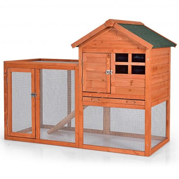 Outdoor Wooden Rabbit hutch-Natural