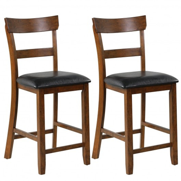 2Pcs Counter Height Chair Set with Leather Seat and Rubber Wood Legs