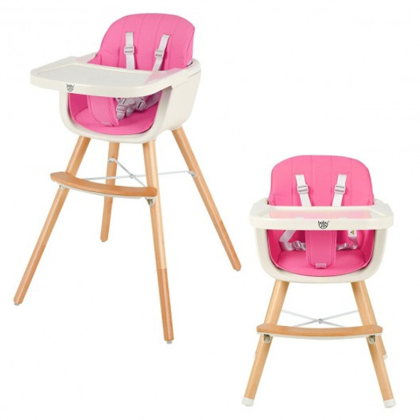 3 in 1 Convertible Wooden High Chair with Cushion-Pink