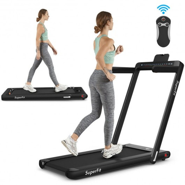 2-in-1 Electric Motorized Health and Fitness Folding Treadmill with Dual Display and Bluetooth Speaker-Black