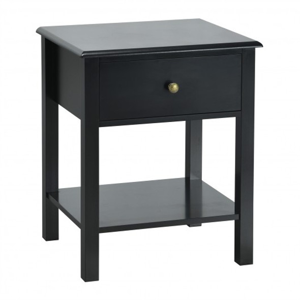 Nightstand End Table with Drawer and Shelf-Black