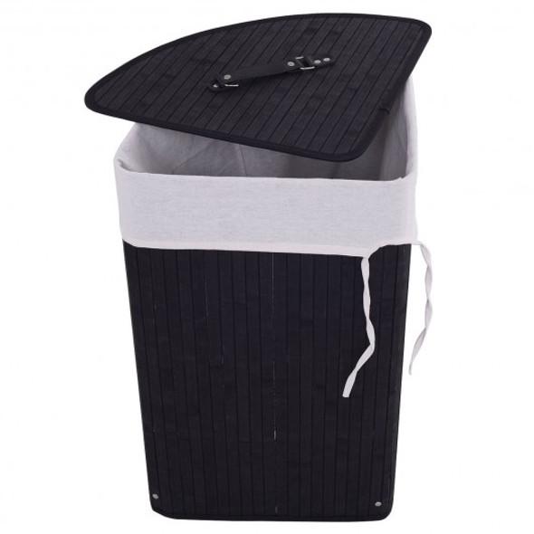 Corner Bamboo Hamper Laundry Basket-Black - COHW67643BK