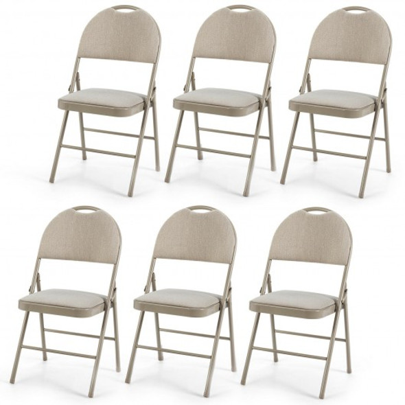 6 Pack Folding Chairs Portable Padded Office Kitchen Dining Chairs-Beige