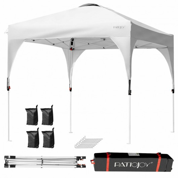 8' x 8' Outdoor Pop Up Tent Canopy Camping Sun Shelter with Roller Bag-White