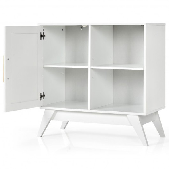 Storage Cabinet Free Standing with Adjustable Shelves Weaved Door-White
