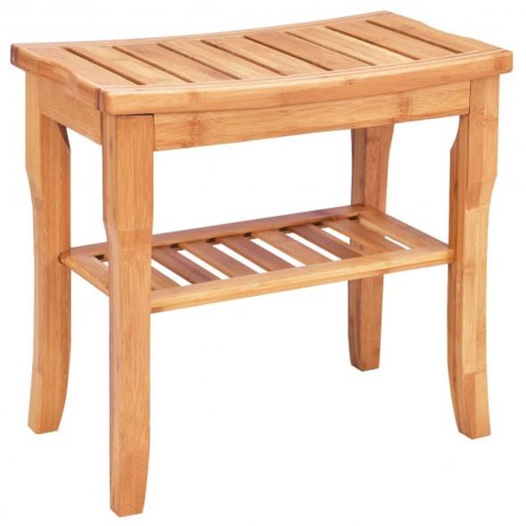 Bathroom Bamboo Shower Chair Bench with Storage Shelf