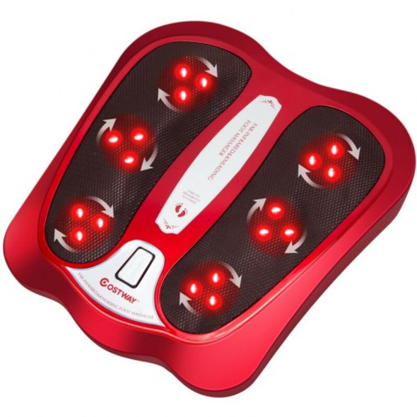 Shiatsu Heated Electric Kneading Foot and Back Massager-Red