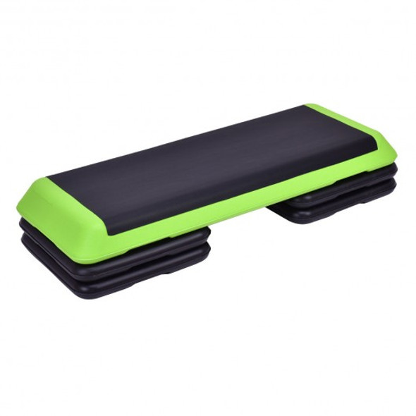 """43"""" Height Adjustable Fitness Aerobic Step with Risers-Green"""