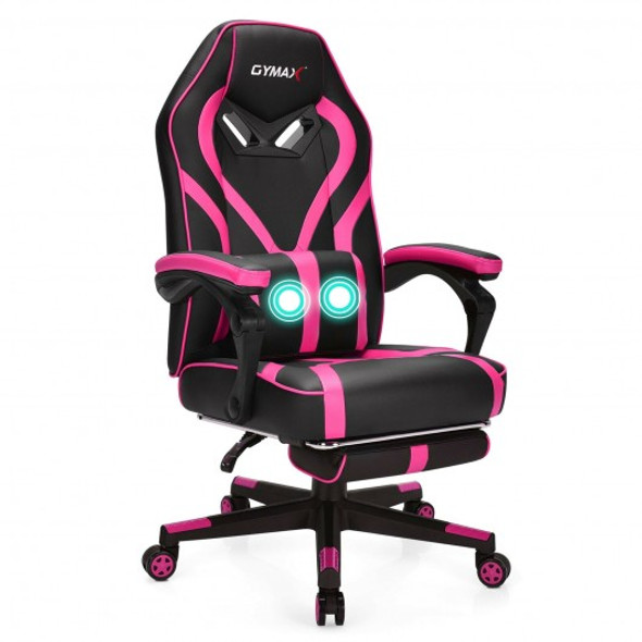 Computer Massage Gaming Recliner Chair with Footrest-Pink