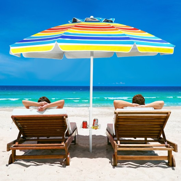 7.2 FT Portable Outdoor Beach Umbrella with Sand Anchor and Tilt Mechanism for  Poolside and Garden-Multicolor