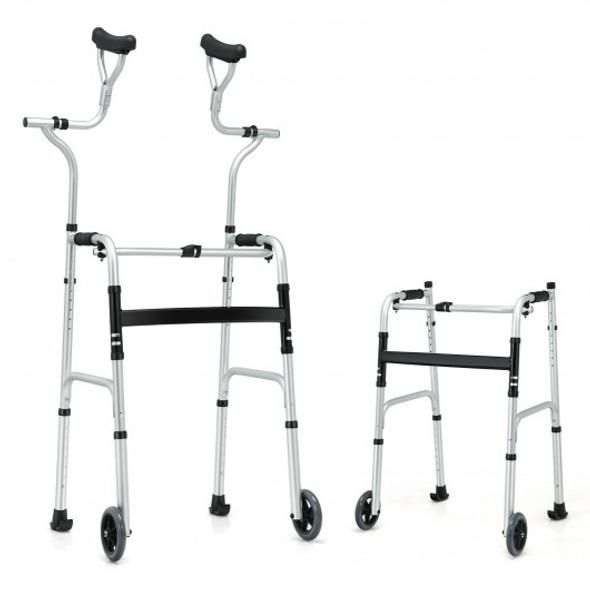 Folding Rehabilitation Auxiliary Standard Walker Aluminum Alloy with Support
