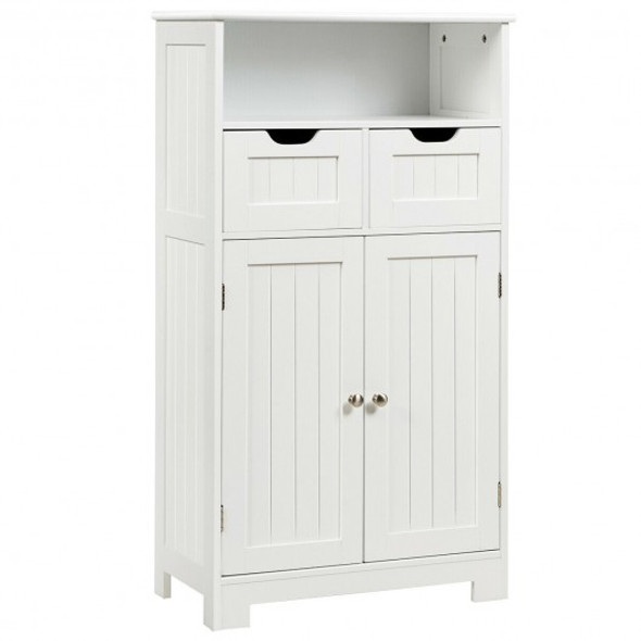 Bathroom Wooden Side Cabinet  with 2 Drawers and 2 Doors-White