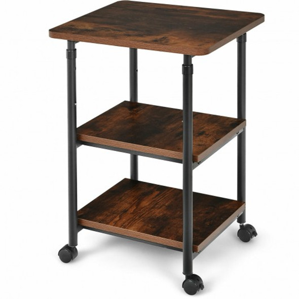 3-tier Adjustable Printer Stand with 360 Swivel Casters-Brown