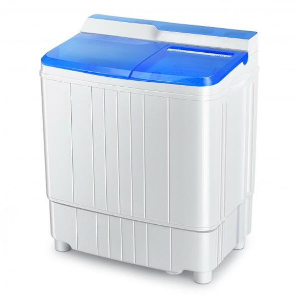 13Lbs Portable Compact Mini Twin Tub Washing Machine with Drain Pump Spinner-Blue