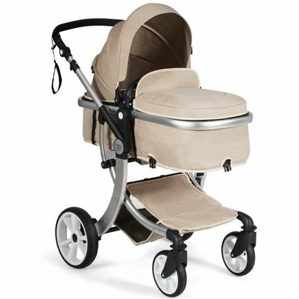 Folding Aluminum Infant Reversible Stroller with Diaper Bag-Beige