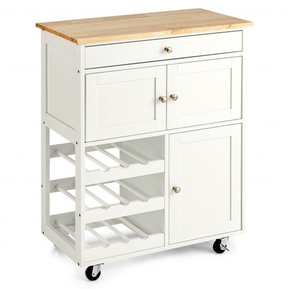 Kitchen Cart with Rubber Wood Top 3 Tier Wine Racks 2 Cabinets-White