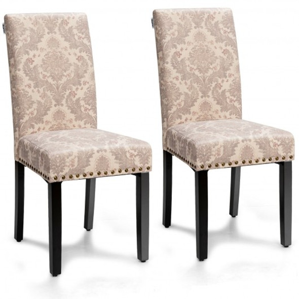 Set of 2 Fabric Upholstered Dining Chairs with Nailhead-Pink