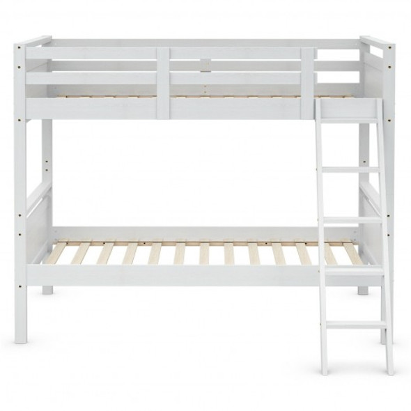 Twin Over Twin Bunk Bed Convertible 2 Individual Beds Wooden -White