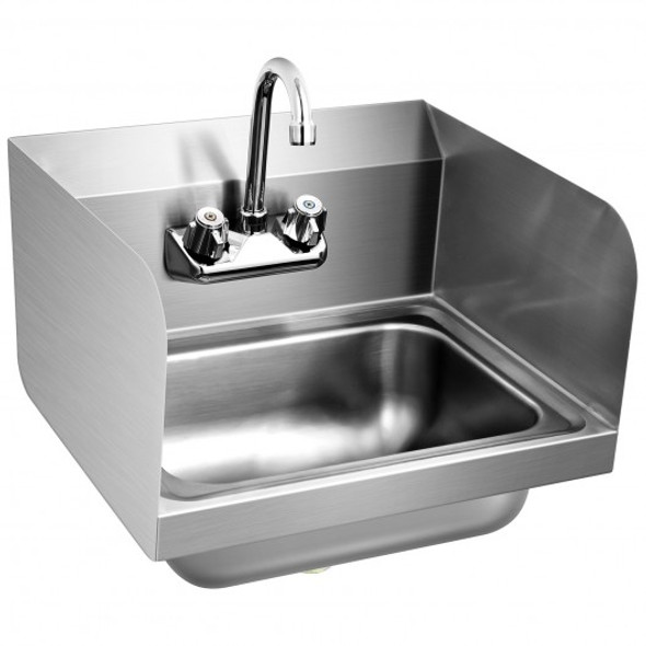 Stainless Steel Sink Wall Mount Hand Washing Sink with Faucet and Side Splash