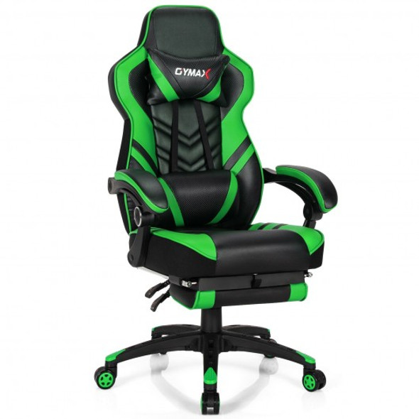 Adjustable Gaming Chair with Footrest for Home Office-Green