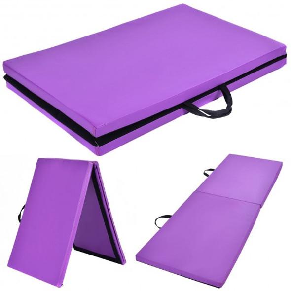 "6 x 24"" x 1.5'' Thick Two Folding Panel Gymnastics Mat-Purple"