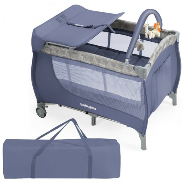 Foldable Safety  Baby Playard for Toddler Infant with Changing Station-Gray