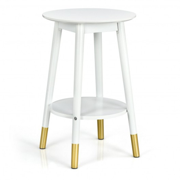 2-Tier Round End Table with Storage Shelf for Home Office Decor Accent Side Table