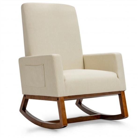 Rocking High Back Upholstered Lounge Armchair with Side Pocket-Beige