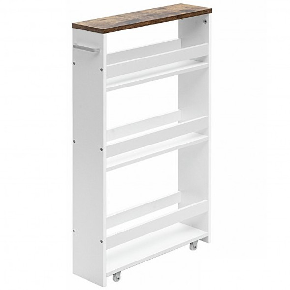 4 Tier Rolling Slim Storage Kitchen Organizer Cart with Handle-White