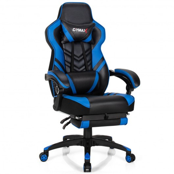 Adjustable Gaming Chair with Footrest for Home Office-Blue