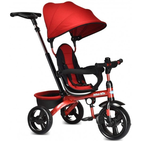 4-in-1 Kids Tricycle with Adjustable Push Handle-Red