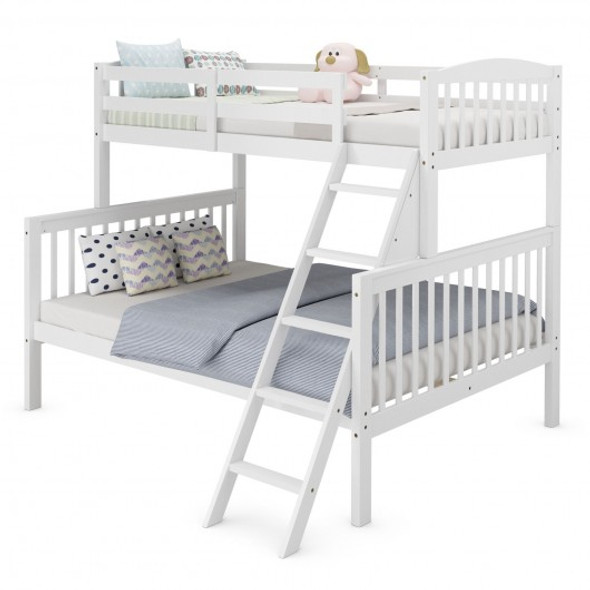 Twin over Full Bunk Bed Rubber Wood Convertible with Ladder Guardrail-White
