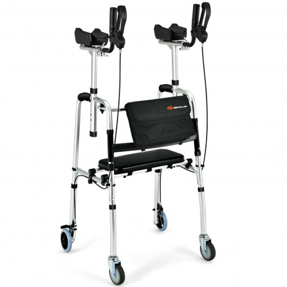 Folding Auxiliary Walker Rollator with Brakes Flip-Up Seat Bag Multifunction-Silver