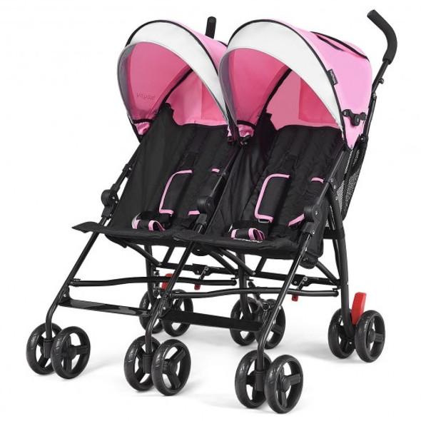Foldable Twin Baby Double Stroller Ultralight Umbrella Kids Stroller-Pink