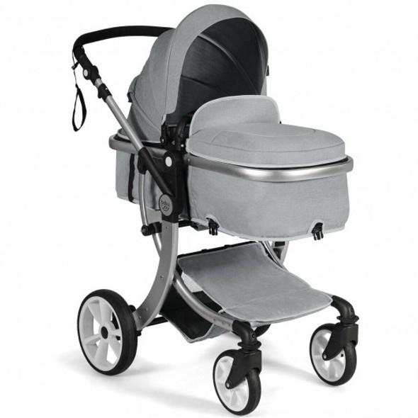 Folding Aluminum Infant Reversible Stroller with Diaper Bag-Gray
