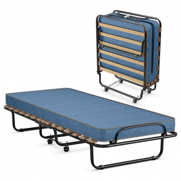 Portable Folding Bed with Foam Mattress and Sturdy Metal Frame Made in Italy-Navy