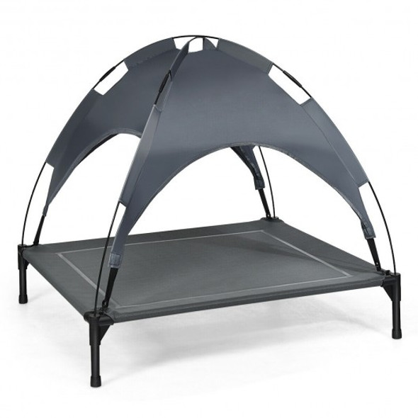 """Portable Elevated Outdoor Pet Bed with Removable Canopy Shade-36"""""""