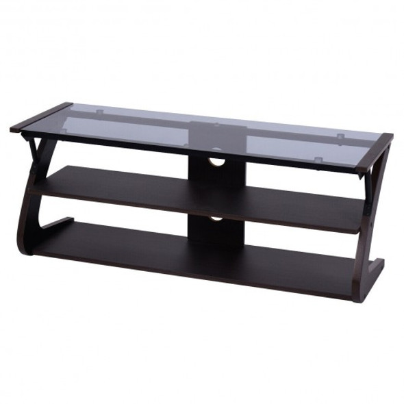 3-Tier Tempered Glass Top Media Console TV Stand