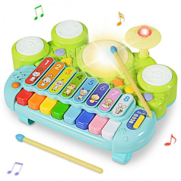 3-in-1 Electronic Piano Xylophone Game Drum Set