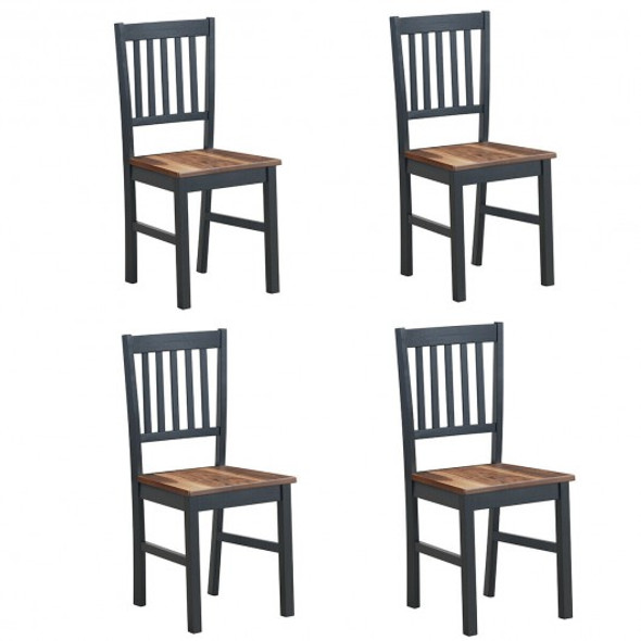 Set of 4 Dining Chair Spindle Back Wooden Legs - COKC52883